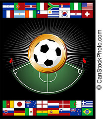 Championship medal - Composition with corner zone and soccer...