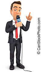 3d businessman reporter with microphone, isolated white...