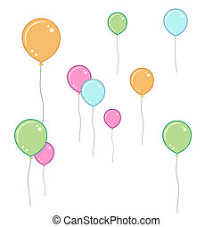 Soft coloured balloons - pastel coloured balloons on white...