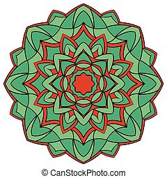 Turquoise mandala for coloring book.