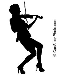 Violin six - Girl with violin on a white background