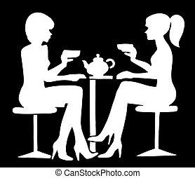 Two Ladies Drinking Tea Silhoette on Black