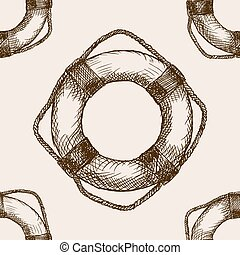 Lifebuoy hand drawn sketch seamless pattern vector