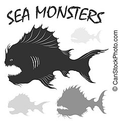 Sea monsters set.