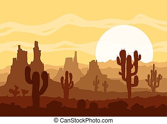Sunset in stone desert with cactuses and mountains. -...