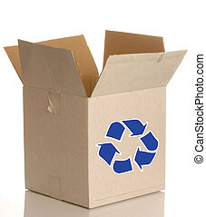 cardboard box with blue recycle - white cardboard box with...