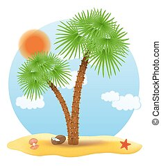 palm tree stands on the sand vector illustration