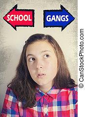 Teenage girl facing choice between SCHOOL and GANGS -...