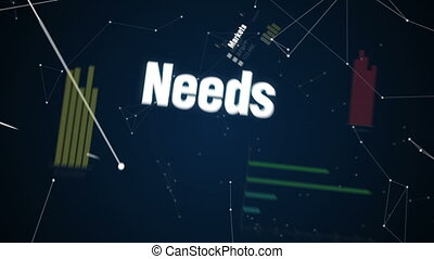 Text animation SALES TARGET - Markets, Needs, Profit,...