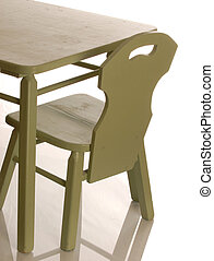 childrens table and chair set isolated on a white background