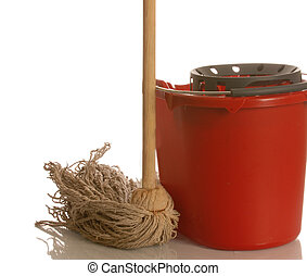 string mop and red bucket