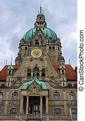 New City Hall in Hannover. - New City Hall in Hannover,...