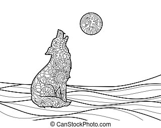 Wolf coloring book for adults vector