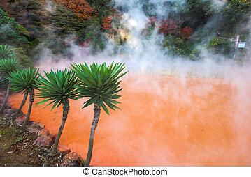 Blood Hell Hot spring - Beppu, Japan at the Blood Hell Hot...