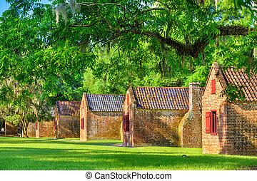 plantación, meridional, esclavo, cuartos