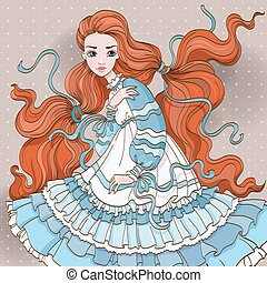 Art Redhair Girl In Blue Dress - Vector art illustration of...