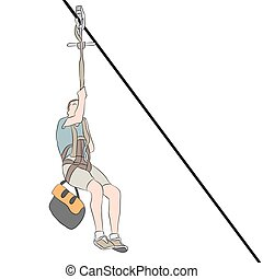 Young Skinny Man Zip line - An image of a young skinny man...