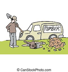 plumber digging up clogged underground pipe - An image of a...