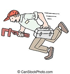 speedy running plumber - An image of a speedy running...