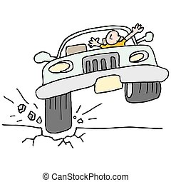 Car hitting a pot hole. - An image of a car hitting a pot...