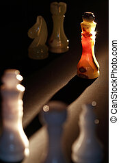 Onyx Chess Pieces - Set of chess pieces made from onyx...
