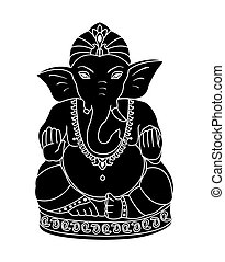 Vector Lord Ganesha. Black Ganesh isolated on a white...