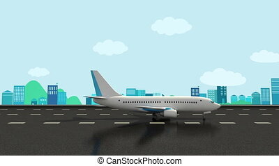 Airplane take off on a airport. - Airplane take off on a...