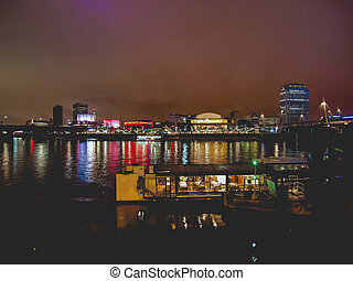 River Thames South Bank, London - River Thames South Bank in...