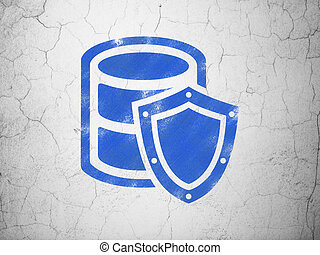 Programming concept: Database With Shield on wall background