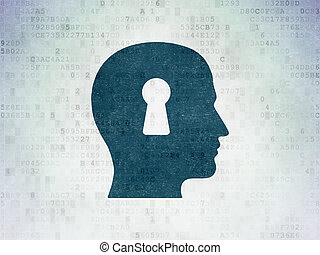 Learning concept: Head With Keyhole on Digital Data Paper background