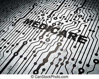 Medicine concept: circuit board with Medicare - Medicine...
