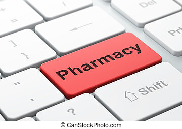 Health concept: Pharmacy on computer keyboard background