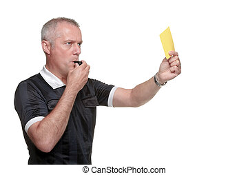 Referee showing the yellow card side profile - Side profile...