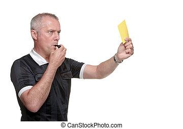 árbitro, actuación, amarillo, tarjeta, lado,...