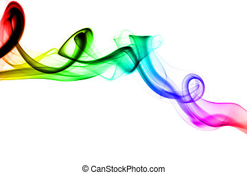 Colorful fume abstract swirl over white background