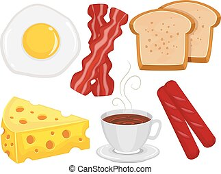 Breakfast Food Elements - Vector Illustration of Breakfast...