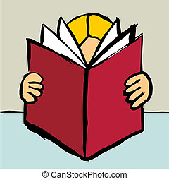 Person reading a big red book - Cartoon style drawing of one...