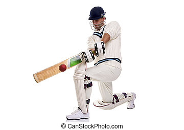Cricketer playing a shot - Cricketer down on his knee...
