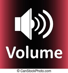 Loudspeaker and volume red - Icon with the classical image...