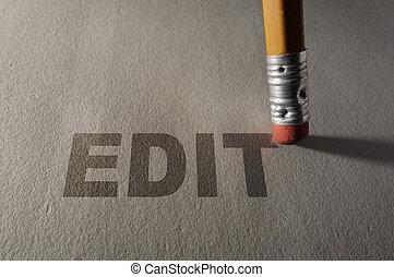 Editing a paper - Closeup of a pencil erasing Edit text --...