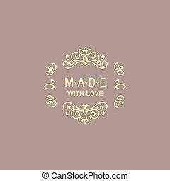 Eastern Design Hand Made Trademark Flat Vector Hand Drawn...