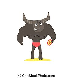 Minotaur Monster On The Beach Childish Funny Flat Vector...