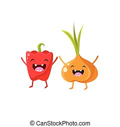 Sweet Pepper And Onion Cartoon Friends Vector Isolated...