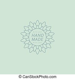 Flower Hand Made Trademark Flat Vector Hand Drawn Decorative...