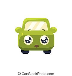 Hopeful Green Car Emoji Cute Childish Style Character Flat...