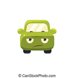 Sceptic Green Car Emoji Cute Childish Style Character Flat...