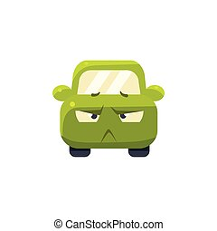 Doubtful Green Car Emoji Cute Childish Style Character Flat...