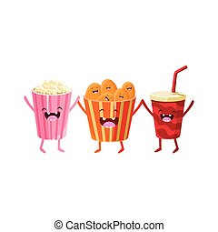Popcorn, Soda And Chips Cartoon Friends Colorful Funny Flat...