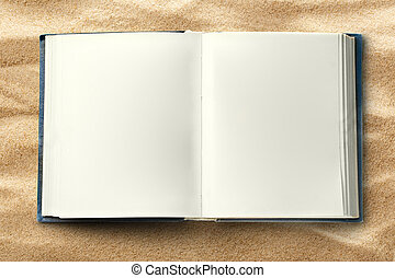 Blank opened book as background in closeup