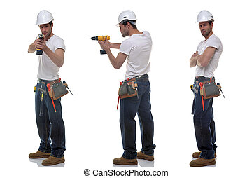 Three builder photos - Three shots of a builder in different...